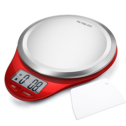 Digital Kitchen Scale with Dough Scraper, NUTRI FIT High Accuracy Multifunction Food Scale with Fingerprint Resistant Coating,Tare & Auto Off Function Red