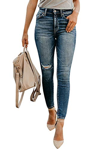 Lynwitkui Womens Destroyed Ripped Holes Skinny Jeans Leggings Low Stretchy Straight Leg Slim Fit Denim Pants (XXX-Large, -