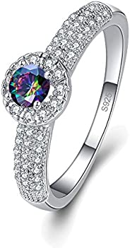 Veunora 925 Sterling Silver Created Rainbow Topaz Filled Halo Ring