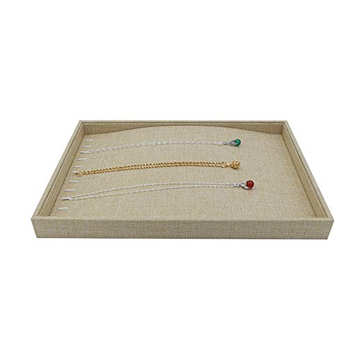 Polmart T22y Natural Linen Center Raised Necklace Tray Hay Yellow