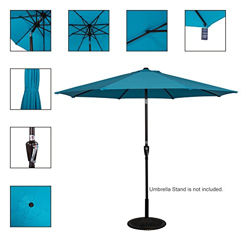 Sundale Outdoor 9 Feet Aluminum Market Umbrella Table Umbrella with Crank and Push Button Tilt for Patio, Garden, Deck, Backyard, Pool, 8 Steel Ribs Turquoise