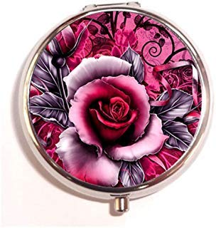 (Vintage Tribal Red Rose Custom Round Silver Pill Box Pocket 2 inches Medicine Tablet Holder Organizer Case for Purse)