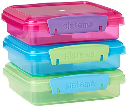 Sistema Lunch Collection Food Storage Containers, 1.9 Cup, 3 Pack, Blue/Green/Pink | Great for Meal Prep | BPA Free, Reusable (Best Place To Get Packing Boxes)