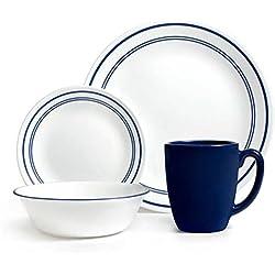 Corelle Livingware 16-Piece Dinnerware Set, Classic Cafe Blue