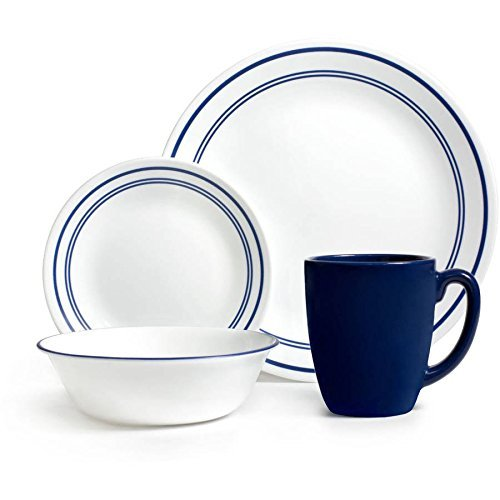 Corelle Livingware 16-Piece Dinnerware Set, Classic Cafe Blue