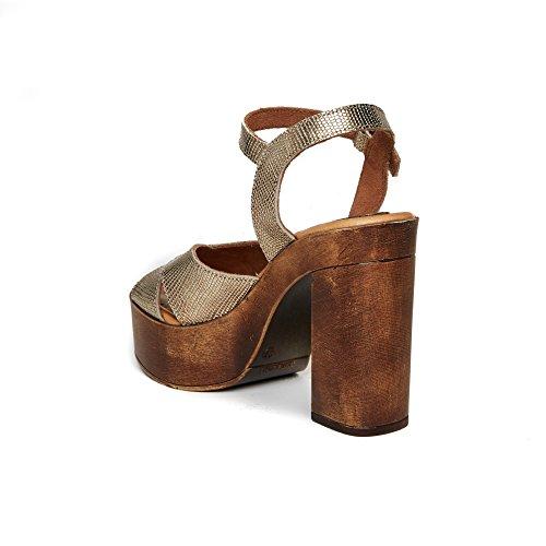 UMA Plateau-Sandalen Aus Echtem Leder für Damen Gold