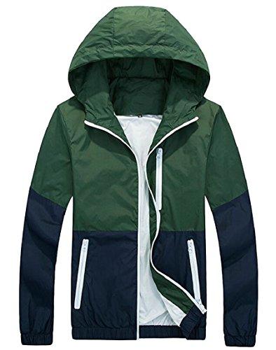 Hooded Zip Long 3 Windbreaker Lightweight security up Jacket Sleeve Thin Men's 4BYxw4Oq7