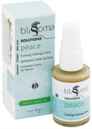 Solutions Blissoma paix naturelle Soirée Soins du visage Crème hydratante bio anti-inflammatoires et apaisantes, 1 oz, 30 ml