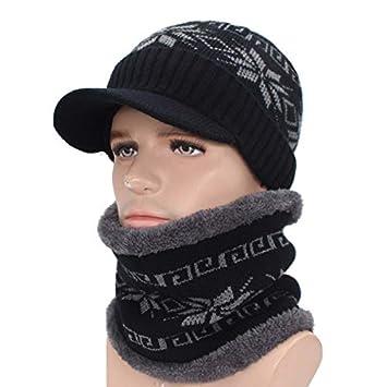 HOKUGA Skullies Beanies Men Knitted Hat Scarf Winter Hats For Women Male  Caps Gorras Bonnet Mask 507c6c5fcb34