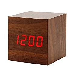 perfeo Wooden Alarm Clock, LED Cube Digital Alarm Clock with Temperature Display, Adjustable Brightness & Voice Control, USB/Battery Powered for Kids, Bedrooms, and Dormitory