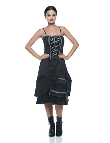 [Women's Steampunk Victorian Inspired Corset Style Chemise Bustle Petticoat Dress (Small, Black)] (1800s Dresses Costumes)