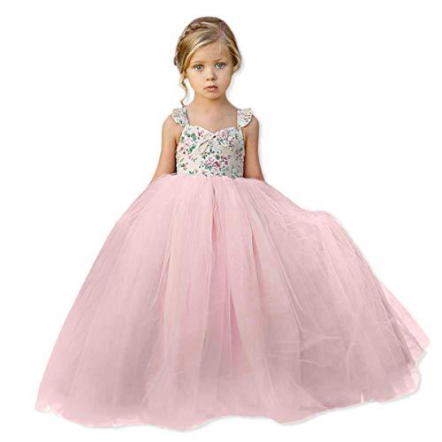 (Little Kids Baby Girls Skirt Ball Gown Gauze Flower Sleeveless Princess Wedding Party Long Dresses Birthday Tutu Tulle Dresses (Pink, 2-3)