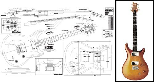 Plan of PRS McCarty Electric Guitar - Full Scale Print by Luthiers Supplies