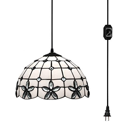 KIVEN Plug-in Tiffany Blue Gems Pendant Lamp Chandelier Handmade Glass Pendant Lamp 15ft UL Black Cord with On/Off Dimmer Switch,Bulb Not Included