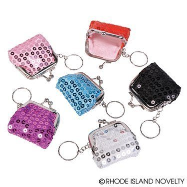 (6 Sparkly BLING COIN Purses with KEY CHAIN Attached 2.5