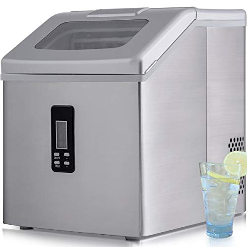 Sentern Electric Clear Ice Maker Ice Machine Stainless Steel Countertop Ice Making Machine 48 lbs Per Day, Real Clear Ice Cubes, Actual Ice, Crystal Clear Ice - HZB-19BE