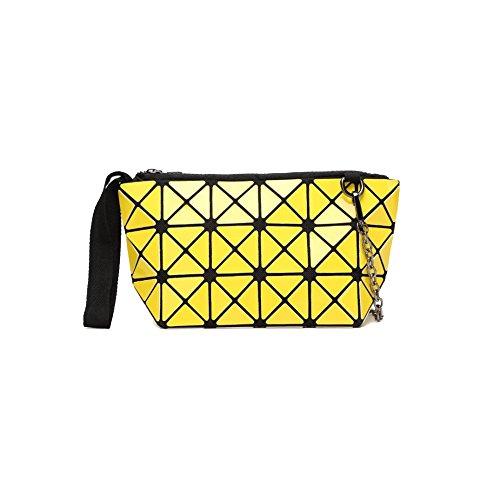 YXPNU Lady Bolsa Geometría Doblar Cadena Láser Moda Ocio Compras Yellow