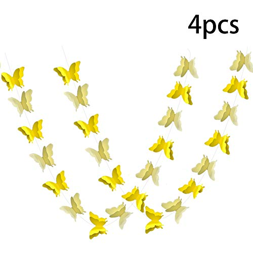 ADLKGG Butterfly Hanging Garland Party Decoration, 4 Pack 3D paper Butterfly Bunting Banner for Wedding Baby Shower Birthday Home Decor, -