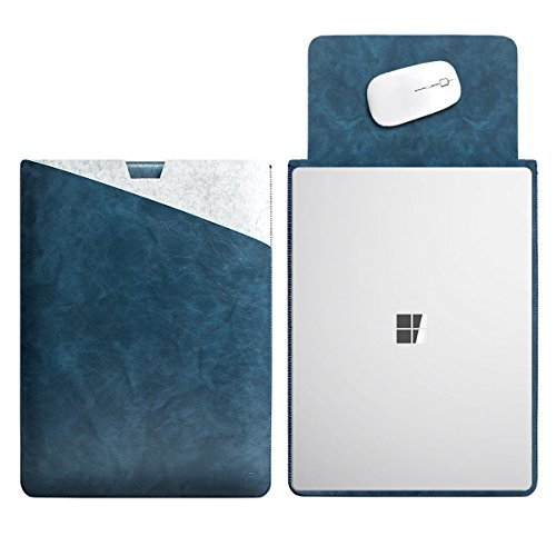 WALNEW 13.5 Microsoft Surface Laptop 13.5 Inch Protective Soft Sleeve Case Cover Bag with Safe Interior and Exterior Mouse Pad, Dark Blue