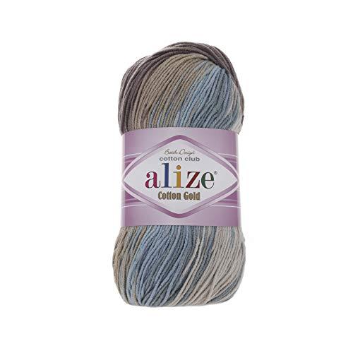 55% Cotton 45% Acrylic Yarn Alize Cotton Gold Batik Thread Crochet Hand Knitting Yarn Arts Crafts Lot of 4skn 400 gr 1444 yds Color Gradient 4148
