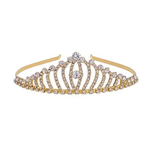 YUE DOU XIONG Tiara Crown Metal Crystal Gold Headband for Wedding Birthday Party Hair Band