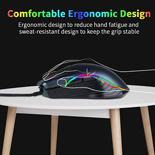 BAIBAO RGB Gaming Mouse Ergonomic Wired 7 Keys Programmable Breathing RGB Lighting up to 6400 DPI for Windows/XP/iOS PC Gamers
