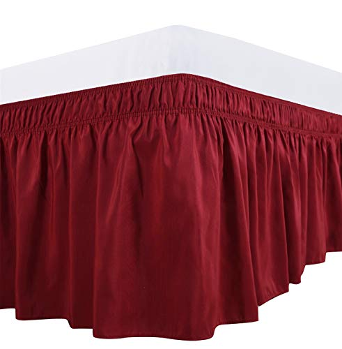 Biscaynebay Wrap Around Bed Skirts Elastic Dust Ruffles, Easy Fit Wrinkle and Fade Resistant Solid Color Fabric, Lipstick Red Queen Size 15