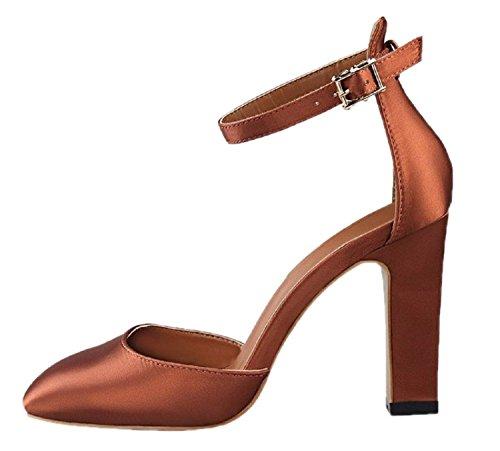 HooH Women's Satin Chunky Ankle Strap High Heel Wedding Sandals Coffee Yvpyb54we6