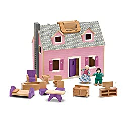"""Enjoy a """"home away from home"""" with this delightful wooden dollhouse. Two flexible wooden play figures live in this house with 11 pieces of wooden furniture. The dollhouse opens for easy access and folds closed for convenient storage. This wooden port..."""