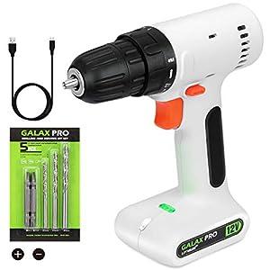 GALAX PRO Drill Driver, 12V 800 RPM Cordless Drill Driver, 17+1 Torque Setting, 10mm Keyless Chuck,with 2 Screwdriver…