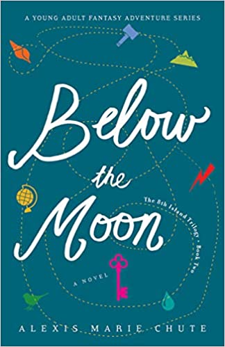 The cover for Below the Moon, which is blue with a white title and small images from nature around the edges.