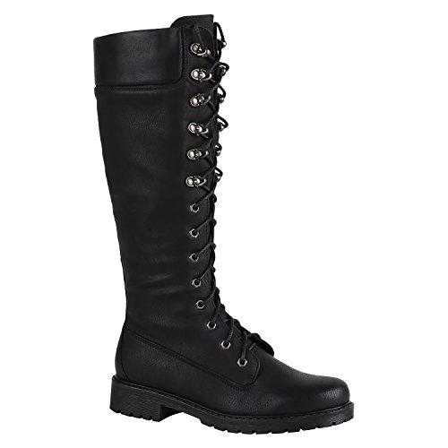 Boots Stiefelparadies Flandell Biker Stiefel Camiri Schwarz Schwarz Schnallen  Schuhe Metallic Damen Schnürstiefel RqqIOH 4c2f5d74ef