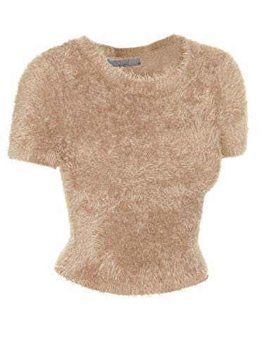 Emmalise Fuzzy Eyelash Sweater Cute Short Crop Top Fashion Shirt for Women - Camel, Medium