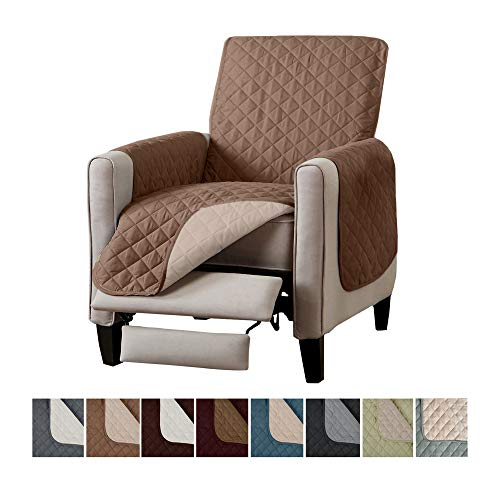 Home Fashion Designs Reversible Recliner Chair Protector. Furniture Protector for Living Room with Secure Straps. Furniture Protectors for Kids, Dogs and Pets. (26 Recliner, Fossil Brown/Birch)