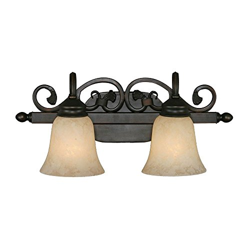 Bella Collection Two Light Vanity - Golden Lighting 4074-2 RBZ Belle Meade Two Light Vanity, Rubbed Bronze Finish