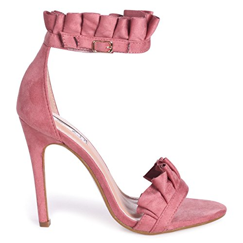 Philipa - Pink Stiletto Heel with Frill Ankle Strap Pink qx5g2bP