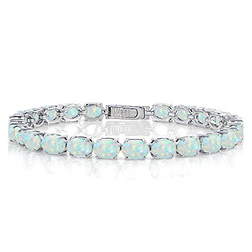 Sterling Silver Created White Opal 7x5mm Oval Tennis Bracelet