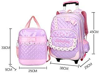 Ly-lgb and Winter Female Childrens Bag Trolley Bag PU Bow with Tutorial Bag Shoulder Bag Color : Purple