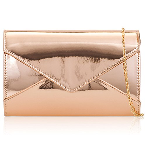 Ladies Champagne London Gloss Women Party Bags Envelope Clutch Leather Patent Medium Medium Evening Prom Xardi fFwOq0O