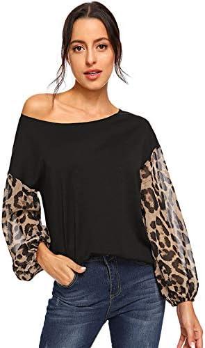 SheIn Women's One Shoulder Long Sleeve Casual Leopard Tops Blouse