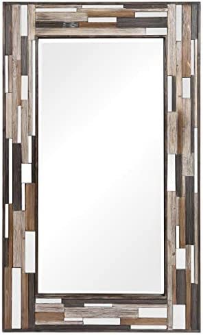 MY SWANKY HOME Oversize Tiled Mirrored Frame Wall Mirror 75 Full Length Rustic Mid Century
