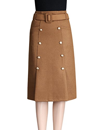 Double Button Front Skirt - 1