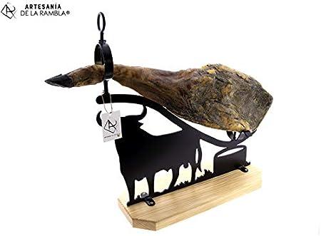 ARTESANÍA DE LA RAMBLA | Jamonero rústico | Jamonero Amazon | Jamonero de forja | Soporte jamonero | Jamonero Toro | 58x20x60 cm