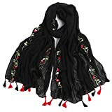Women's Lightweight National Style Embroider Fashion Scarf Soft Cotton Shawls Wraps Long Scarves With Tassel for Winter Wedding Evening Black