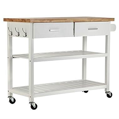 Homegear Open Storage Kitchen Storage Cart Island with Rubberwood Cutting Block White