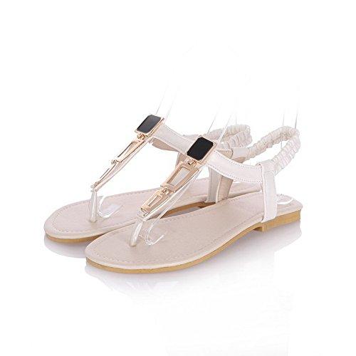 Amoonyfashion Donna Tacco Basso Materiale Solido Sandalo Infradito Solido Elastico Bianco Sandali Infradito
