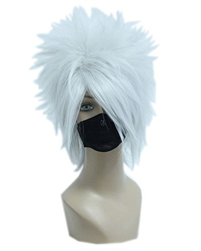 Kadiya Silver White Anime Short Cosplay Wig Heat Resistant Synthetic (Kakashi Hatake Halloween Costume)
