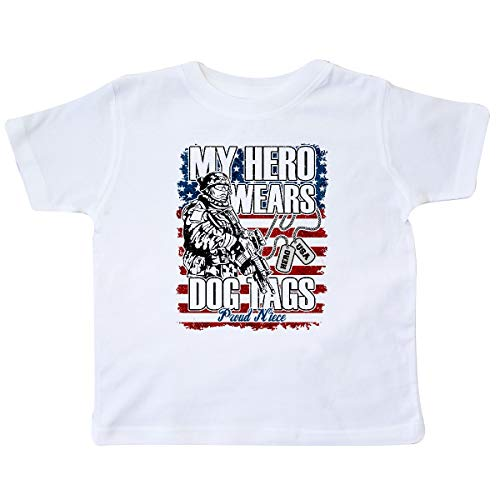 - inktastic - Proud Military Dog Tags Flag Niece Toddler T-Shirt 2T White 36317