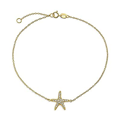 nice Bling Jewelry Electrocoat Gold Plated CZ 925 Silver Starfish Anklet Bracelet 9in hot sale