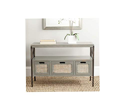 Sаfаviеh Deluxe Premium Collection French Grey 3-Drawer Console Table Decor Comfy Living Furniture